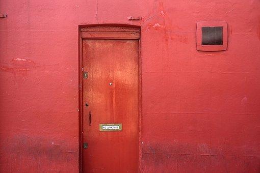 Door, Wall, Red, House, Input, Frame, Door Opening