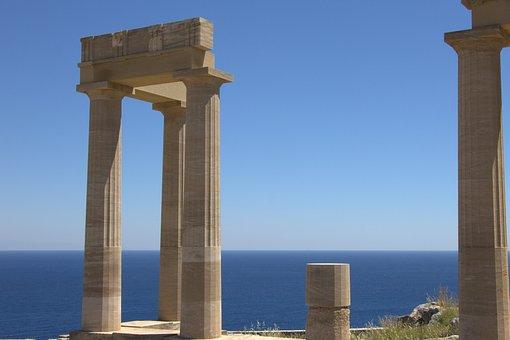 Greece, Rhodes, Lindos, Acropolis, Columnar, Temple