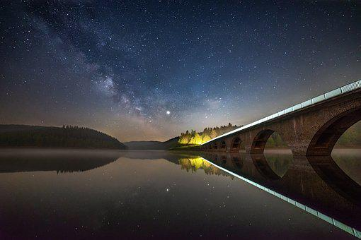 Night, Lake, Water, Sky, Landscape, Nature, Star