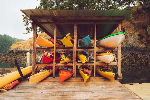 Kayaks, Shed, Stack, Summer, Canoeing, Boat, Lakeside