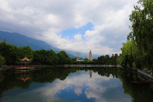 Dali, Three Pagodas, Park, Summer, Blue Sky, Free