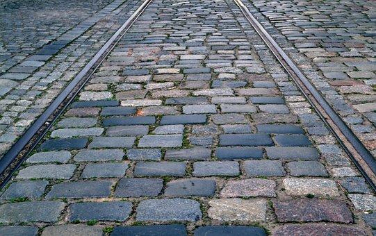 Rails, Pavement, Tram, Street, Metal, Stone, Monument