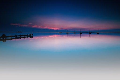 Steinhuder Sea, Lake, Six Boats, Boats, Abendstimmung