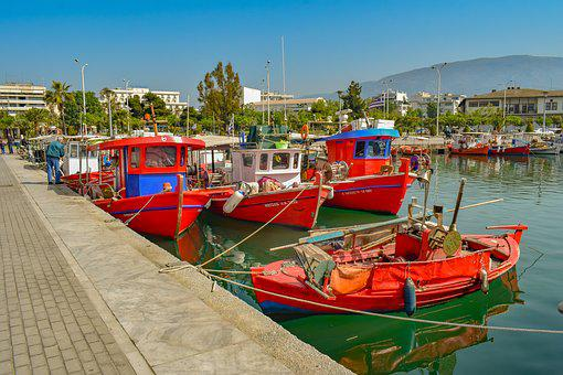 Boats, Red, Port, Harbour, Sea, Dock, Town, Volos