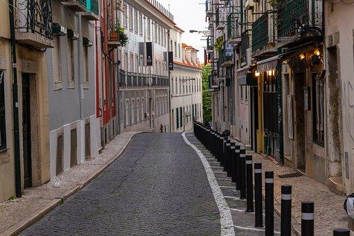 Lisbon, Road, City, Building, Architecture, Empty