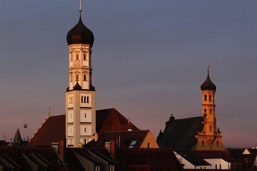 Church, Church Steeples, Evening Sun, Architecture