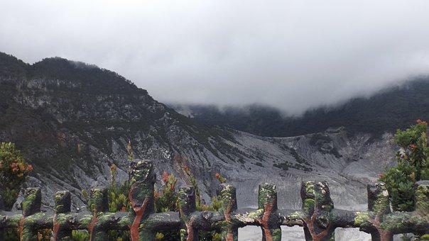 Mountains, Rock, Tangkuban Perahu, Clouds