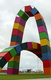 Arc, Work Of Art, Container, Color, Le Havre, France