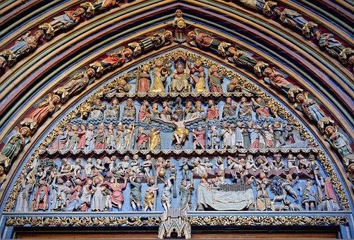 Archway, Freiburger Minster, Church, Figures, Religion