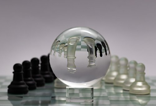 Chess, Glass Ball, Bauer, King, Lady, Chess Board