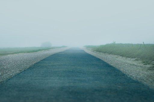 Road, Fog, Meadow, Field, Lane, Lonely, Empty, Fog Bank