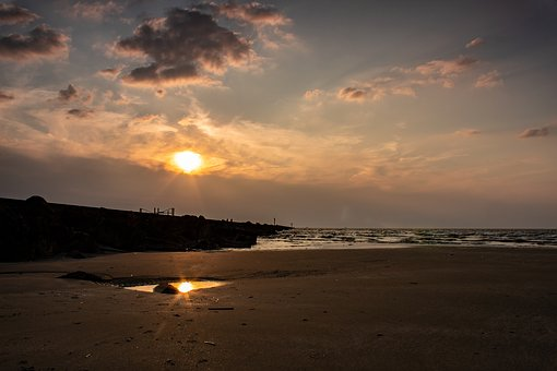 Sunset, Sea, Water, Sky, Clouds, Landscape, Mood