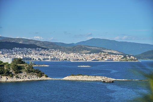 Greece, Kabala City, Spring, Blue Color, Sea, Nature