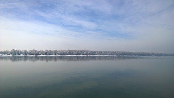 River, Danube, Landscape, Day, Winter, Clouds, Ship