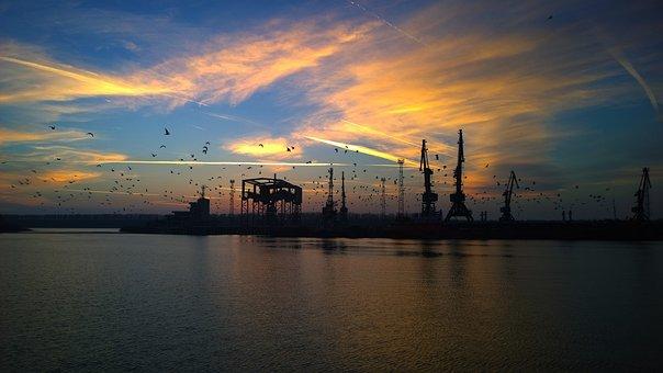 Port, Zaton, Reni, Danube, River, Small River, Evening