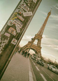 Paris, Eiffel Tower, France, Street, Vintage