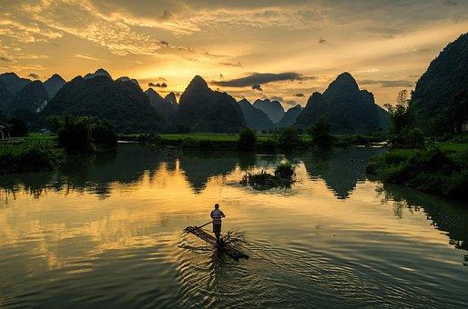 Afternoon, Sun Set, Sun, Fishermen, Fishing