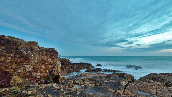 Sea, Sands, Olonne, Vendée, France, Ocean, Side, Rocks
