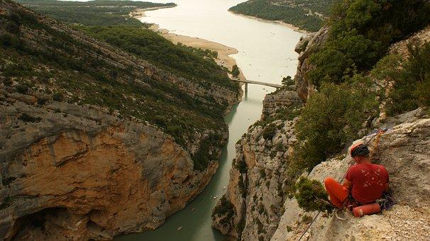 Climb, Climber, Sport, France, Verdon, Gorge