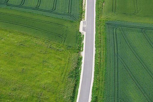 From Above, Field, Road, Landscape, Aerial View, Green