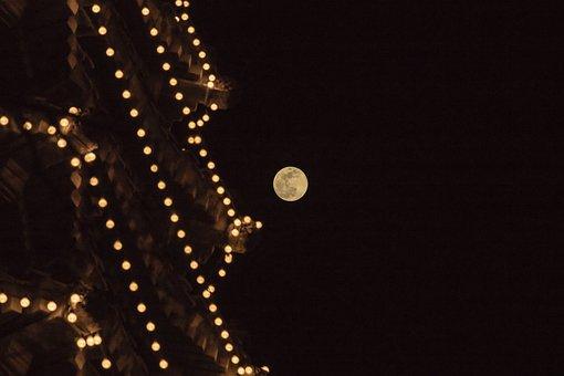 Tower, Moon, China, Sky, Night, Moonlight, Atmosphere