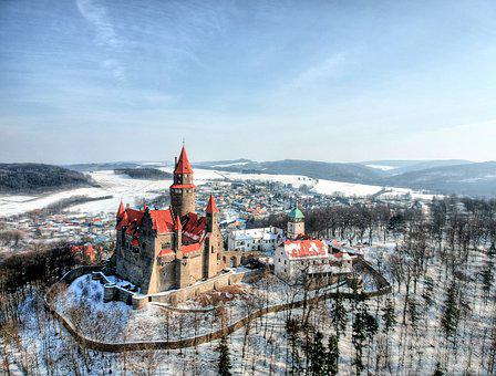 Bouzov, Winter, Aerial, Travel, Castle, Czech, Drone