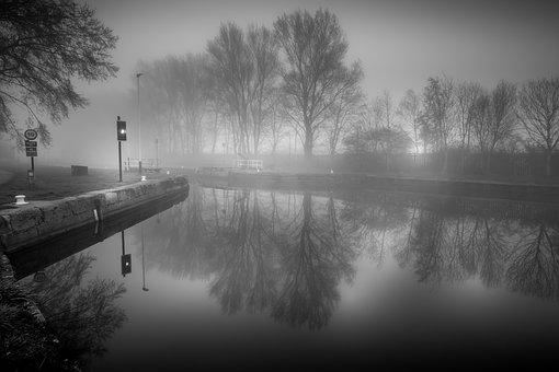 Canal, Reflections, Mist, Castleford, Yorkshire