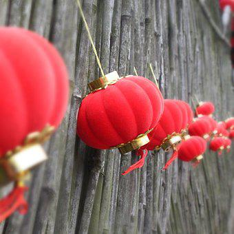China, Holiday, Celebrate, Lanterns, Red, Gold