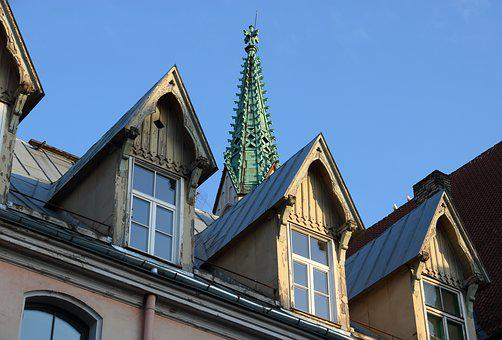 Latvia, Riga, Church, Spire, Roof, Ornamental, Building