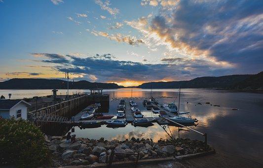 Sunset, Port, Clouds, Twilight, The Saguenay Fjord, Sea