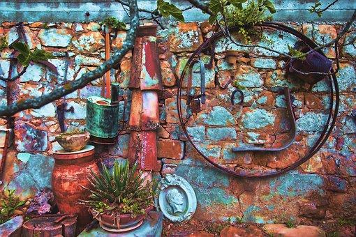Wall, Colorful, Texture, Tools, Garden, Colors, Bricks