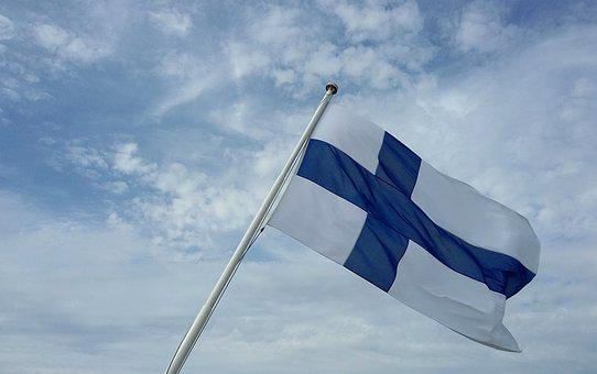 Finland, Flag, Sky, Clouds, Blue, White, Nationality
