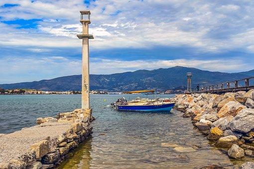 Greece, Volos, Alykes, Promenade, Dock, Boats, Beacon