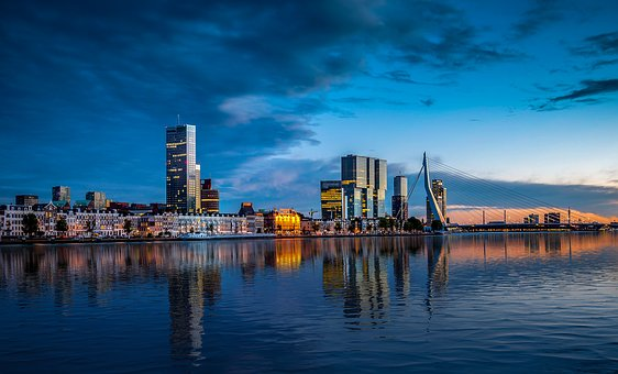 Reflection, City, In The Evening, Architecture, Light