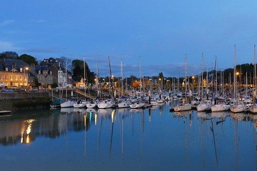Evening, Lighting, Lamp, Twilight, Port, Boat, Quay