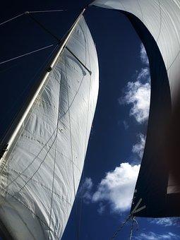 Sailing, Mainsail, Jib, Sailboat, Sky, Wind