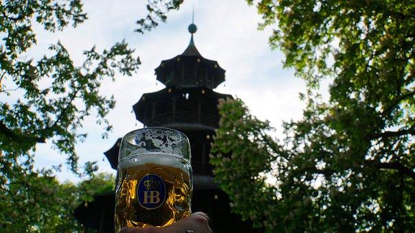 Beer, Beer Mug, English Garden, Munich, Bavaria, Hand
