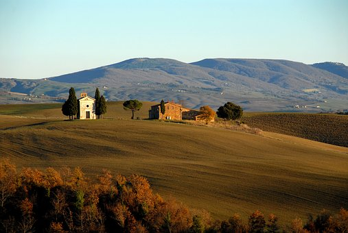 Tuscany, Nature, Landscape, Hill, House, Field, Trees