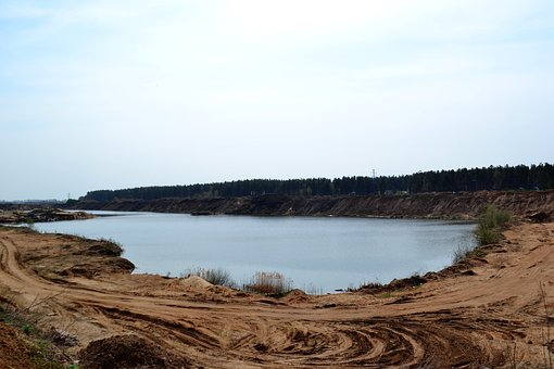 Quarry, Sand, Lake, Sky, Sun, Nature, Road, Atmosphere