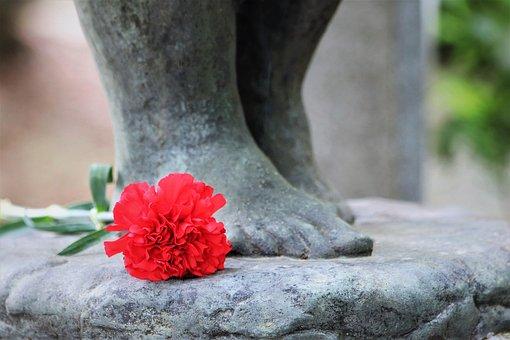 Sculpture, Feet, Red Carnation, Cemetery Mirogoj