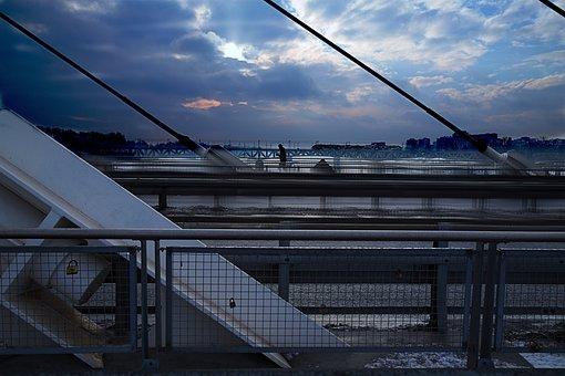 Bridge, Run, Running, City, Symbol