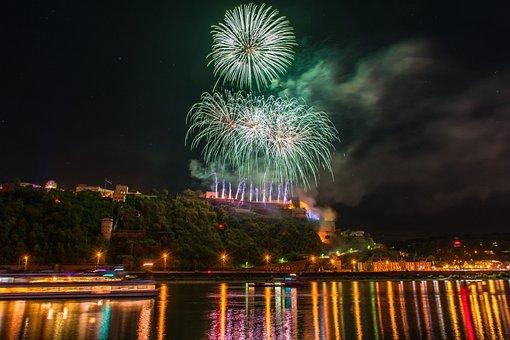 Koblenz, Fireworks, Ehrenbreitstein, Rhine, Ships