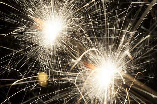 Sparklers, New Year, Sparks, Glowing, Sparkle, Black