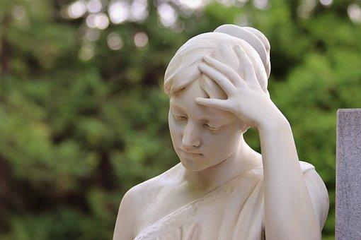 Woman, Sculpture, Monument, Stone, Cemetery Mirogoj
