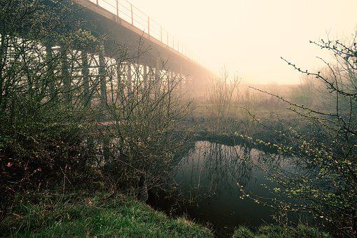 Sunrise, Bridge, Yorkshire, Castleford, Mist