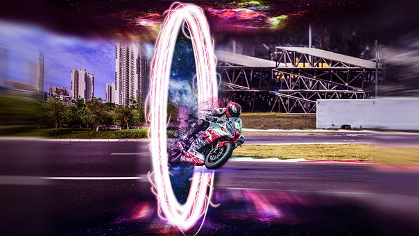 Portal, Motorcycle, Traveler, Transportation, Driving