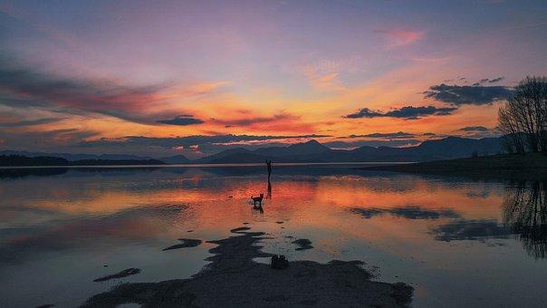 Sunset, Sea, Man, Water, The Sky, Ocean, Twilight