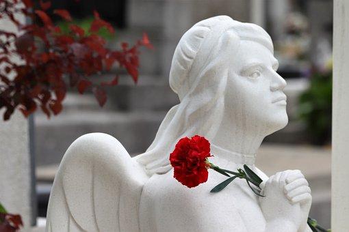 Angel, Praying, Red Carnation, Cemetery Mirogoj, Zagreb