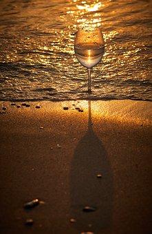 Glass, Goblet, Sea, Wave, Sunrise, Alcohol, Drink, Wine