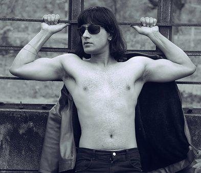 Man, Muscles, Body, Long Hairstyle, Wearing Sunglasses